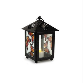 Melrose Pack of 3 Butterfly and Floral Cut-Out Black Tea Light Candle Lanterns 7.5