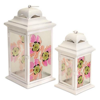 Melrose Set of 2 White Pillar Candle Lanterns with Bright Pink and Orange Poppy Flowers