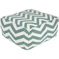 Diva At Home 24 Teal Blue and Ivory Chevron Wool Rectangular Pouf Ottoman