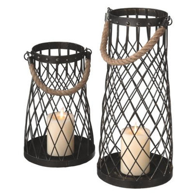 Cc Home Furnishings Set of 2 Nautical Inspired Wire Pillar Candle Holder Lanterns with Rope Handles