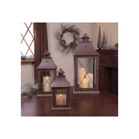 Melrose Set of 3 Cottage-Style Brown Pillar Candle Holder Lanterns 24