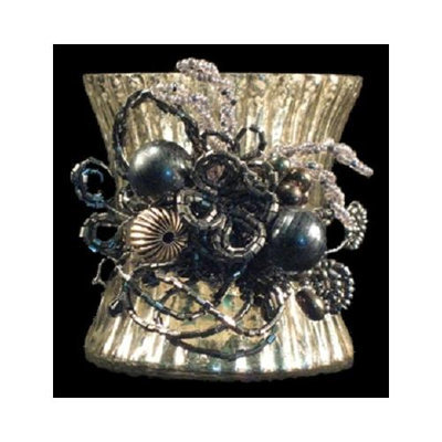 Crafted Creations Set of 3 Beaded Clusters Decorative Antique-style Pewter Votive Candle Holder 6