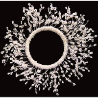 Crafted Creations Set of 3 Large Clear and White Beaded Branches Pillar Candle Ring 6