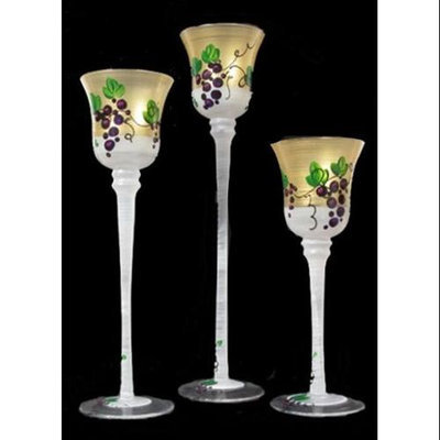 Crafted Creations Set of 3 Grapes and Vines Hand Painted Stemmed Glass Votive Candleholders 12