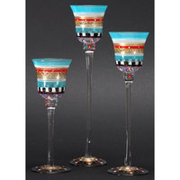 Crafted Creations Set of 3 Mosaic Carnival Confetti Hand Painted Stemmed Votive Candleholders 12