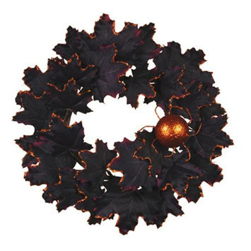 Cc Home Furnishings Pack of 4 Artificial Black and Orange Glittered Halloween Leaf and Spider Pillar Candle Rings - 6