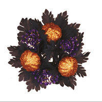 Cc Home Furnishings Pack of 12 Haunted Halloween Glittered Pumpkin and Maple Leaf Taper Candle Rings 1