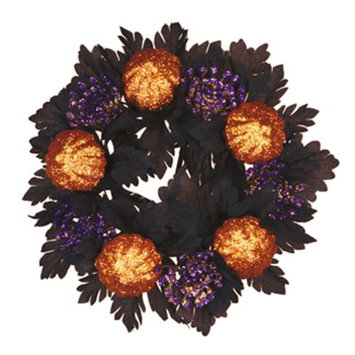 Cc Home Furnishings Pack of 8 Haunted Halloween Glittered Pumpkin and Maple Leaf Votive Candle Rings 2