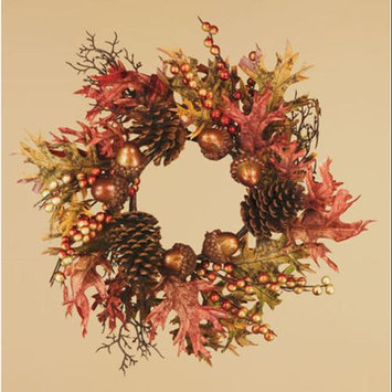 Cc Home Furnishings Pack of 2 Thanksgiving Fall Harvest Copper Oak Leaf, Acorn and Pine Cone Pillar Candle Rings 6