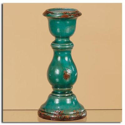 Cc Home Furnishings Pack of 2 Teal Green Decorative Distressed Rustic Pillar Candle Holders 11