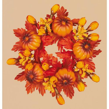 Cc Home Furnishings Pack of 8 Thanksgiving Fall Harvest Leaf and Mini Pumpkin Votive Candle Rings 2