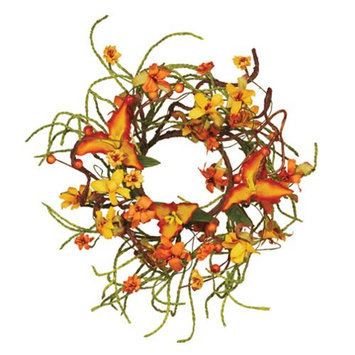 Cc Home Furnishings Pack of 5 Artificial Vibrant Orange Autumn Tiger Lily and Tendril Rope Pillar Candle Rings 3