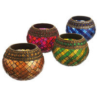 Cc Home Furnishings Set of 4 Elegant Mosaic Glass and Jeweled Tealight Candle Holders