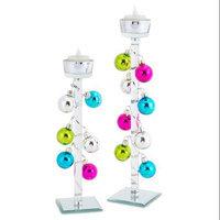 Melrose 8 Elegant Glass Tea Light Candle Holders with Mini Christmas Ball Ornaments 12