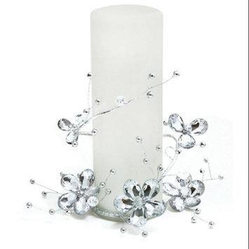 Melrose Pack of 6 Elegant Silver Beaded Christmas Flower Pillar Candle Rings 6