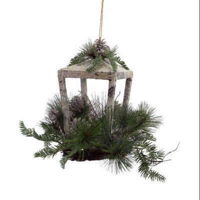Melrose Pack of 2 Rustic Glittered Christmas Candle Lanterns with Pine Foliage, Pine Cones and Jingle Bells 12