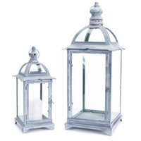 Melrose Set of 2 Weathered Gray Pillar Candle Lanterns with Curved Arches 25.25