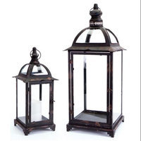 Melrose 2 Distressed Black Pillar Candle Lanterns with Curved Arch & Finial Tops 25.25