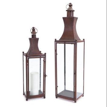 Melrose Set of 2 Rich Brown Sleek Architectural Iron Pillar Candle Lanterns 32