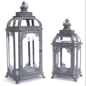 Melrose 2 Antique Gray Vintage Style Iron Pillar Candle Lanterns with Scrollwork 24.5