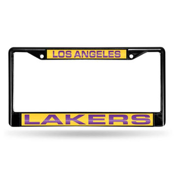 Rico Inc Rico Industries RIC-FCLB82001 Los Angeles Lakers NBA Laser Cut Black License Plate Frame