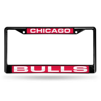 Rico Industries RIC-FCLB72001 Chicago Bulls NBA Laser Cut Black License Plate Frame