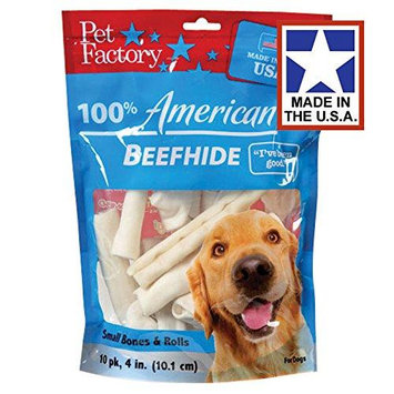 American Beefhide 4-5-Inch Beefhide Chip Rolls and Knotted Bones - 10 Count