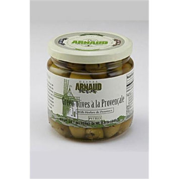 Arnaud 49781 Green Olives Pitted 14.4 oz. Jar Pack of 6