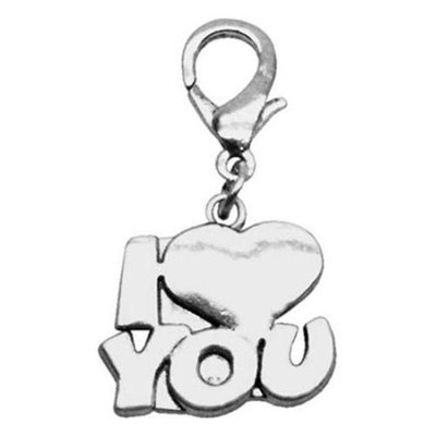 Mirage Pet Products 11-10 ILVU Chrome Lobster Claw Charm I Love You