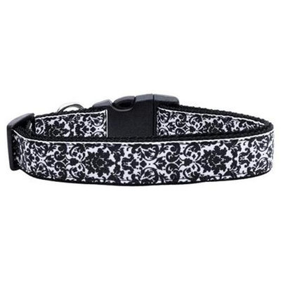Ahi Fancy Black and White Nylon Ribbon Dog Collars Large