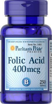 Puritan's Pride 2 Units of Folic Acid 400 mcg-250-Tablets