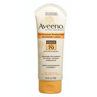 Aveeno® Aveeno Active Naturals Continuous Protection Sunblock Lotion Face SPF-70, 3-Ounce Tubes (Pack of 2)