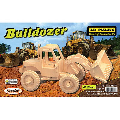 Puzzled 1205 Bulldozer 3D Natural Wood Puzzle - 63 Pieces