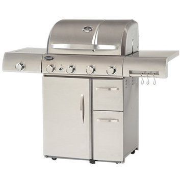 Aussie Stainless Steel 4 Burner Gas Grill with Side Burner