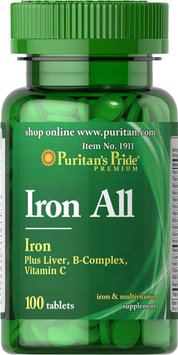 Puritan's Pride 2 Units of Iron All Iron-100-Tablets