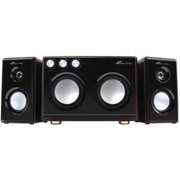 Eagle Tech EagleTech 2.1 Soundstage Speakers with Dual Subwoofers and Karaoke Inputs, Black