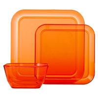 Room Essentials Square 12 Piece Clear Plastic Dinnerware Set - Orange