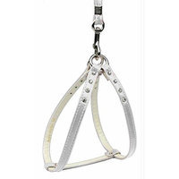 Mirage Dog Supplies Step-In Harness White W/ Clear Stones 18