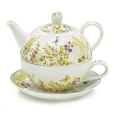 Burton And Burton Butterflies Teapot for One Set includes Teapot Cup and Saucer