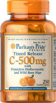 Puritan's Pride 2 Units of Vitamin C-500 mg with Rose Hips Time Release-250-Tablets