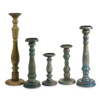Cc Home Furnishings Set of 5 Lenore Classic Style Antique Stained Wood Grain Pillar Candle Holders