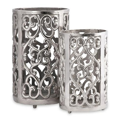 Cc Home Furnishings Set of 2 Balen Elegant Scrolled Polished Silver Pillar Candle Lanterns