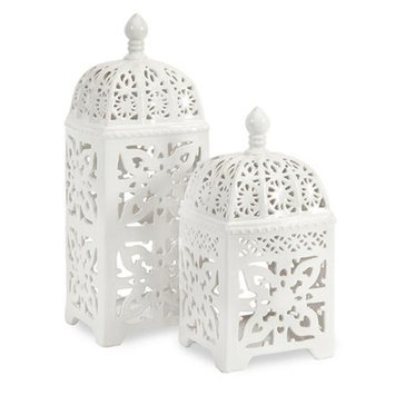 Cc Home Furnishings Set of 2 Crisp White Intricate Cutwork Ceramic Pillar Candle Lanterns
