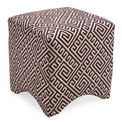 Cc Home Furnishings 18 Marcy Eggplant Purple Geometric Greek Key Fabric Ottoman Footstool Cube
