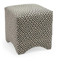 Cc Home Furnishings 18 Marcy Black and Gray Geometric Greek Key Fabric Ottoman Footstool Cube