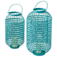 Cc Home Furnishings Set of 2 Vibrant Turquoise Blue Lattice Pattern Pillar Candle Holder Lanterns