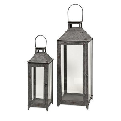 Cc Home Furnishings Set of 2 Avant Gray Distressed Metal Pillar Candle Lanterns 25.25