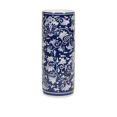 Cc Home Furnishings 20 Stoviglie D'Epoca Blue and White Cylindrical Antique-Style Ceramic Umbrella Holder