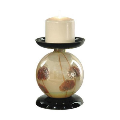 Diva At Home 6.25 Satiny Pearl and Brown Salem Hand Blown Glass Small Pillar Candle Holder