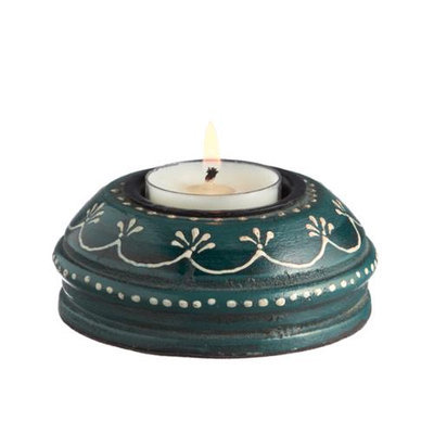 Cc Home Furnishings Set of 6 VedaHome Wooden Whimsy Hand Painted Blue Tea Light Candle Holders 3.5